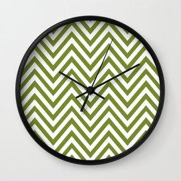 Zigzag Pattern, Chevron Pattern - White Green Wall Clock