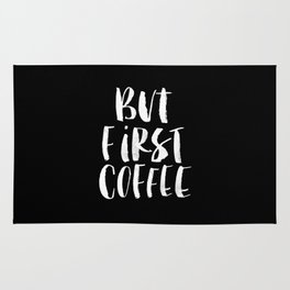 But First Coffee black and white watercolor typography poster home kitchen workplace office decor Rug