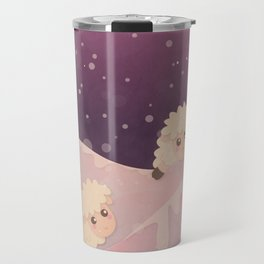 Cartoon Baby Sheep, Red Violet Snowy Bokeh Background Travel Mug