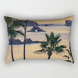 Palms and Arch Rock at Sunrise Rectangular Pillow