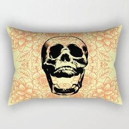 Skull Floral Pattern Rectangular Pillow