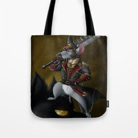 warhammer Tote Bags featuring Commissar Mouse by Amaryllex