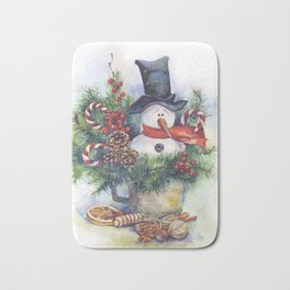 Watercolor Christmas snowman Bath Mat