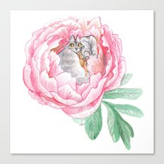 Cat Fairy and a Peony Canvas Print