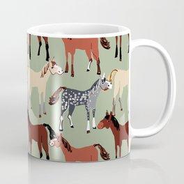 Brown Bay Horse in light green pattern Coffee Mug
