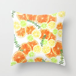 Citrus Slices and Eucalyptus Throw Pillow