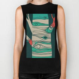Whimsical birch tree Biker Tank