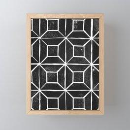 Geometric Lino Printed Pattern Framed Mini Art Print
