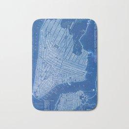 New York antique map, blue old maps, usa maps Bath Mat