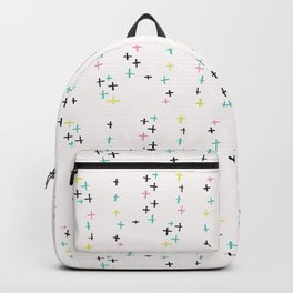 Memphis Style Crosses Abstract Seamless Vector Pattern, Drawn Doodle Art Backpack