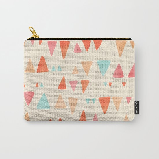 Back & Forth - triangle abstract pattern in peach, aqua & cream Carry-All Pouch