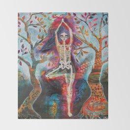 Roots, Dia De Los Muertos Yoga Tree Pose Throw Blanket