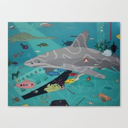 Aquarium (Shark Painting) Canvas Print