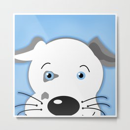 Cute Pit Bull Gray White with Blue eyes Cartoon Metal Print