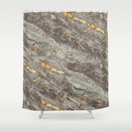 Gray Marble with Gold  Shower Curtain