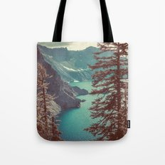 Mountains Forest Lake Water - Vintage Blue Crater Lake and Trees Tote Bag