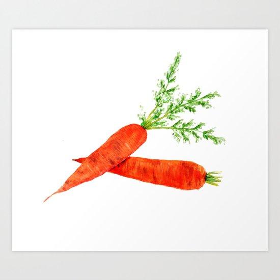 orange carrot watercolor painting Art Print