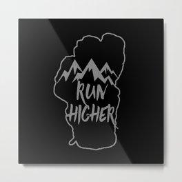 Run Higher LT Black Metal Print