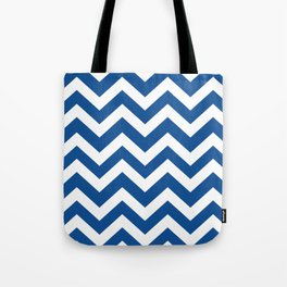 Yale Blue - blue color - Zigzag Chevron Pattern Tote Bag