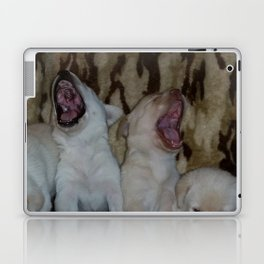 Howling Good Time with yellow lab puppies Laptop & iPad Skin