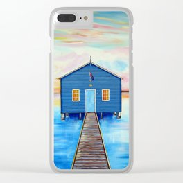 Blue Boat-shed Perth-Swan River Clear iPhone Case