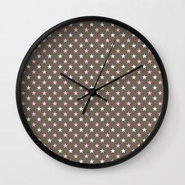 Pink and brown stars Wall Clock