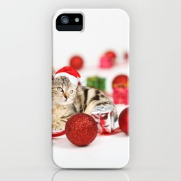 A Cute Cat Christmas Gift Box Ornaments Red Santa Hat iPhone Case