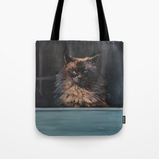 Ragdoll Cat Blue Eyes Inside (screen door with gingerbread)  Tote Bag