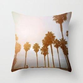 Palm Tree Road Throw Pillow