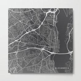 Alexandria Map, USA - Gray Metal Print