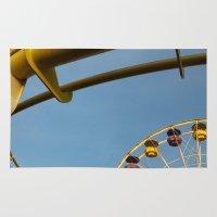 santa monica Area & Throw Rugs featuring Santa Monica pier 3 by Umbrella Design