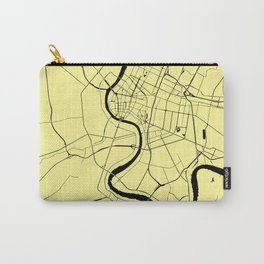 Bangkok Thailand Minimal Street Map - Pastel Yellow and Black Carry-All Pouch
