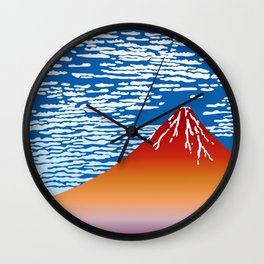 Hokusai Red Fuji_01 Wall Clock