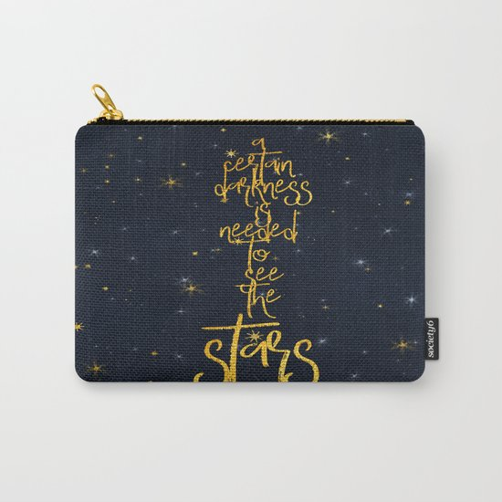 Darkness-Stars - sparkling night gold glitter effect typography on #Society6 Carry-All Pouch