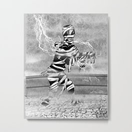 Mummy  covered with bandages, walking in the mist with lightning in the background Metal Print