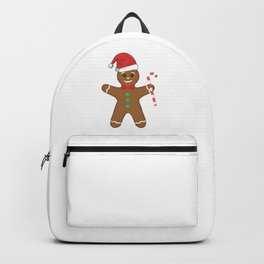 Cute Gingerbread Man In Santa Hat Candy Cane Backpack
