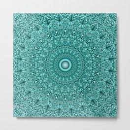 Turquoise Geometric Floral Mandala Metal Print