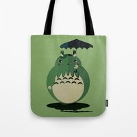 cthulu Tote Bags featuring my neighbor cthulu by pixel.pwn | AK