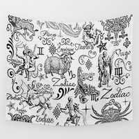 calligraphy Wall Tapestries featuring ZODIAC CANVAS CALLIGRAPHY by BLUE VELVET DESIGNS