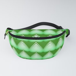 Pattern of white hearts and greens on a lime background. Fanny Pack
