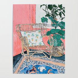 Cane Chair in Pink Interior Poster