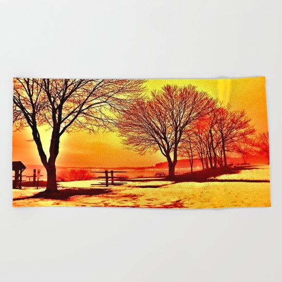 Autumn Lake Beach Towel