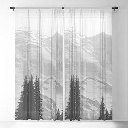 Mount Rainier Black and White Sheer Curtain