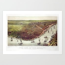 The City Of New Orleans - Bird's-eye View - 1885 Art Print