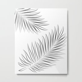 Minimalist Palm Leaves Line Drawing Metal Print