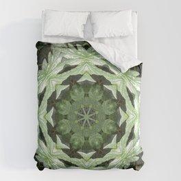 Tropical Twist - Green Leaves Kaleidoscope, Mandala Comforters