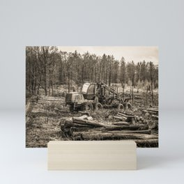 Poltery Site (Wood Storage Area) After Storm Victoria Möhne Forest 7 sepia Mini Art Print