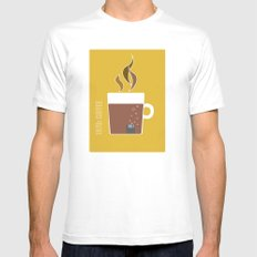 70s Coffee White Mens Fitted Tee MEDIUM