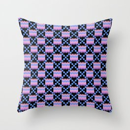 Cornflower Blue, Carnation Pink, Lavender Purple Kente Cloth on Black Throw Pillow