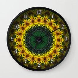 Large Yellow Wildflower Kaleidoscope Art 4 Wall Clock